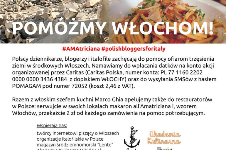 Akcja #AMAtriciana: pomóżmy Włochom